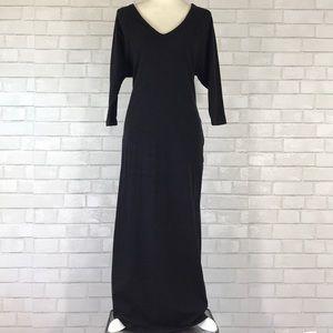 James Perse 3/4 Sleeve V Neck Maxi Dress